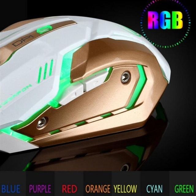 Rechargeable Wired Silent LED Backlit USB Optical Ergonomic Gaming Mouse Six Key Computer USB Game Mouse for Laptop PC Office & School Supplies