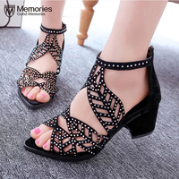 Women Sandals Fashion Women S Rhinestone Sandal Wedge Hollow Fish Head Thick Heel High Heeled Bohemian