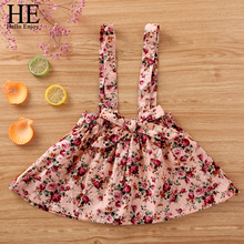 HE Hello Enjoy Baby Girl Clothes Kids Clothing Cute Skirt Cotton Bowknot Floral Suspender Summer Fashion 2019