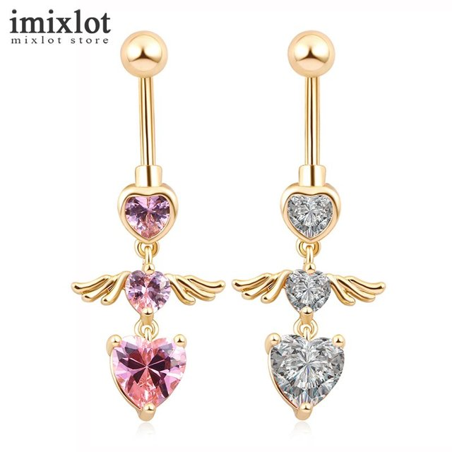 Imixlot Gold Silver Color Navel Belly Button Ring Rhinestone Bar Heart  Angel Belly Piercing Body Jewelry Valentine s Day Gift 2ed18e0d52d0