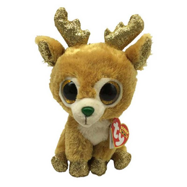 50269897b45 Ty Beanie Boos 6 15cm Glitzy the Reindeer Plush Regular Big-eyed Stuffed  Animal Collection Deer Doll Toy with Heart Tag