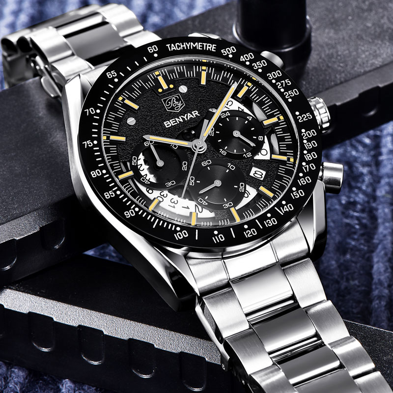 BENYAR Men's Watches Top Brand Luxury Watch Quartz Military Wristwatches Men Clock Chronograph Business Watch Relogio Masculino