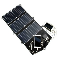 21W high efficiency Outdoor folding Solar Panel USB Output Portable Foldable Power Bank waterproof travel Solar Charger phone