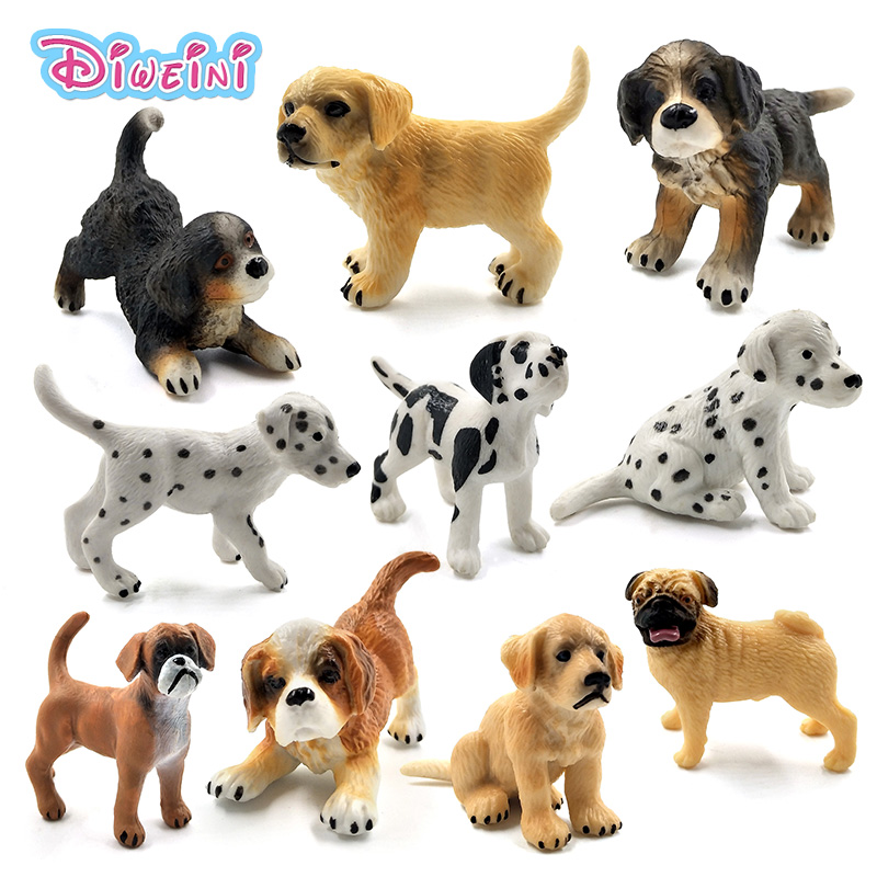 Farm Simulation Small Hound Dalmatian Pug Dog Animal Model Figures Home Decor Figurine Decoration Accessories Gift For Kids Toys