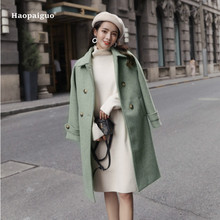 Plus Size Fashion Women Autumn Blue Green Pink Korean Elegant Full Sleeve Turn-down Collar Woollen Long Coat Modis Outwear Coats