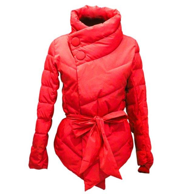 Winter Jacket Women Cotton Down Coat High Collar With Belt Parkas Feminino Cheap Warm Outerwear Plus Size