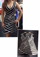 Shining Beauty New Arrival High Quality Black White Striped Aline Rayon Bandage Dress Homecoming Party Elegant