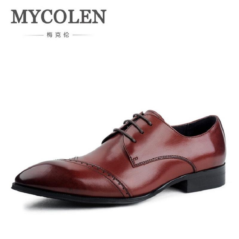 MYCOLEN New Brogue Designer 100% Genuine Leather Business Dress Shoes Men Classic Wedding Shoes Luxury Black Casual Oxfords mycolen mens shoes round toe dress glossy wedding shoes patent leather luxury brand oxfords shoes black business footwear