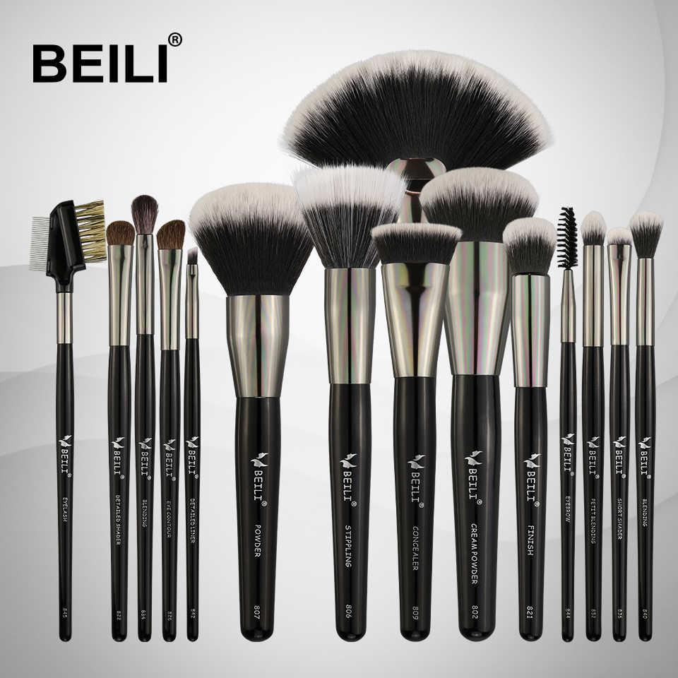 BEILI 15 pièces Pinceaux De Maquillage Professionnel Ensemble Doux soies Naturelles Mélange Sourcil Eyeliner Teint