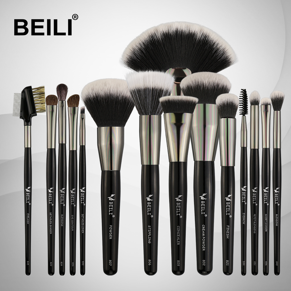 BEILI 15PCS Professional Makeup Brushes Set Soft Natural bristles Blending Eyebrow Eyeliner Concealer Foundation nyx professional makeup консилер для лица concealer jar sand beige 045