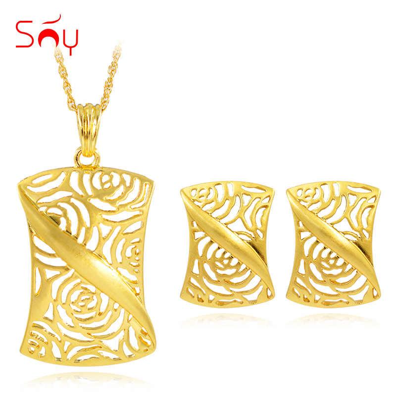 Bijoux ensoleillés bijoux de mode carré évider ensembles de bijoux femmes boucles d'oreilles collier pendentif pour fête quotidienne 2019 nouveaux arrivants