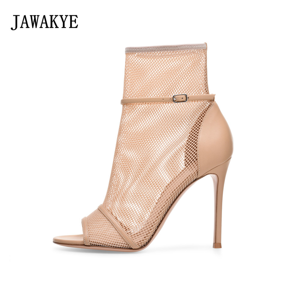 2018 top quality Open Toe High Heel Sandals Women Newest Net Fretwork Ankle Booties Summer Cut outs Gladiator Sandal Boots 2018 newest design brand new multi color lace up open toe high heel sandals cut outs ring buckle sandal booties wholesale price