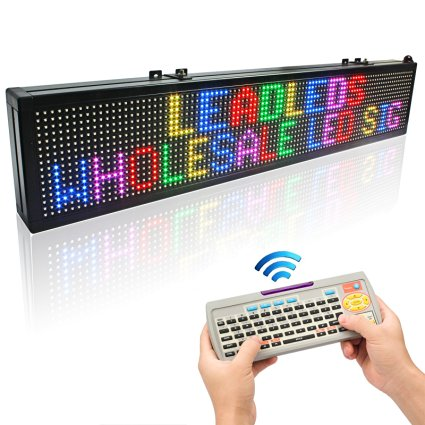 30 x 6 in 16*96pixel Wireless remote keyboard full color RGB LED sign rolling information P7 indoor led display screen
