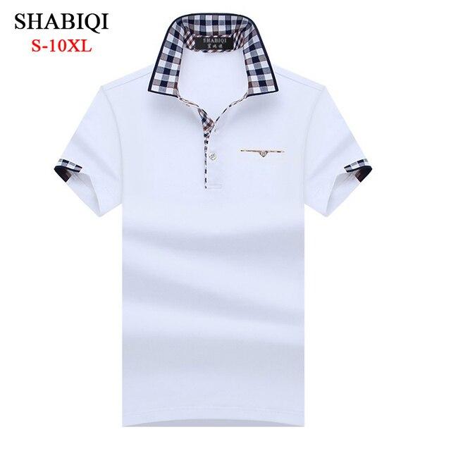 SHABIQI קלאסי מותג גברים חולצת גברים פולו חולצת גברים קצר שרוול Polos חולצה מזדמן חולצת פולו בתוספת גודל 6XL 7XL 8XL 9XL 10XL