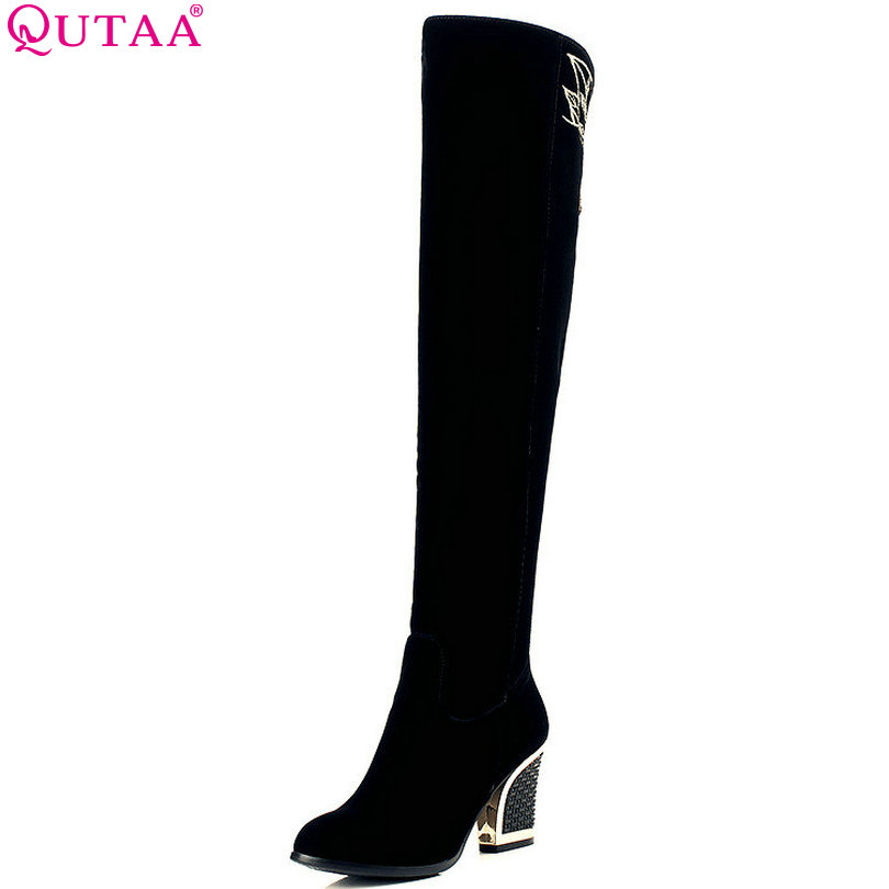 QUTAA Elegant Zipper Square High Heel Scrub Over The Knee Boots Women Shoe Round Toe Warm Boots Shoes Riding Boots size 34-43 цены онлайн