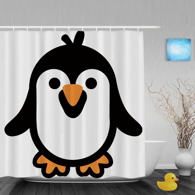 Cute Fat Penguin Decor Bathroom Shower Curtain Cartoon Animals Designed Shower  Curtains Waterproof Polyester Fabric With