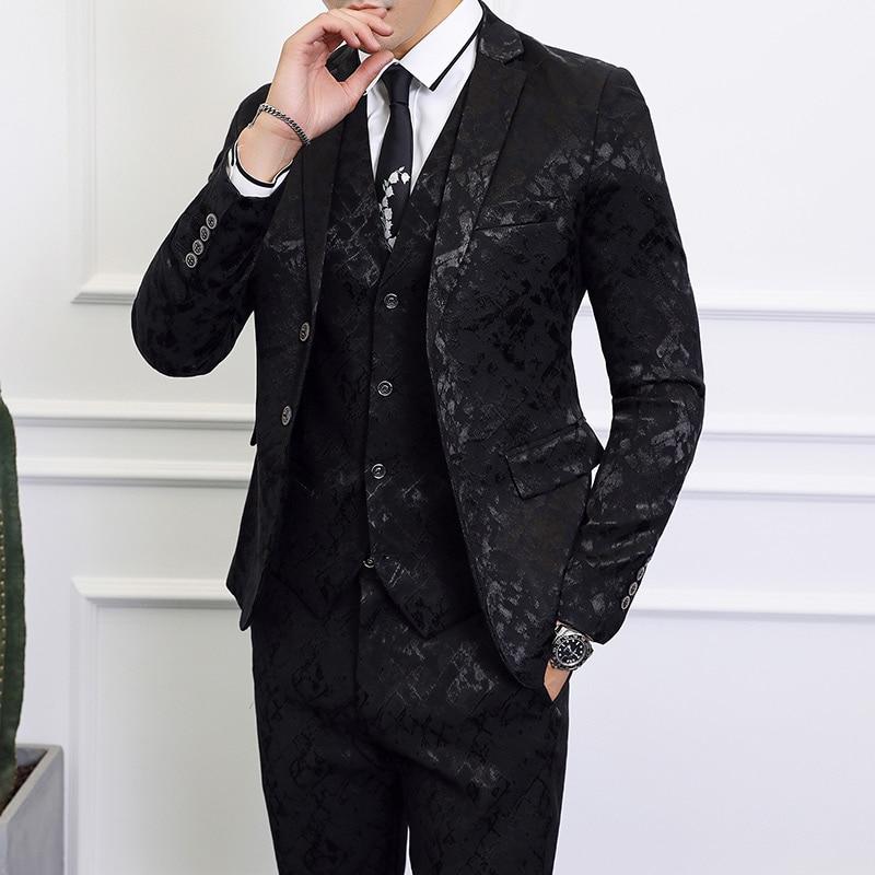 2019 nouveau haut de gamme noir costume hommes d'affaires Banquet mariage hommes costumes veste avec gilet et pantalon grande taille 6XL