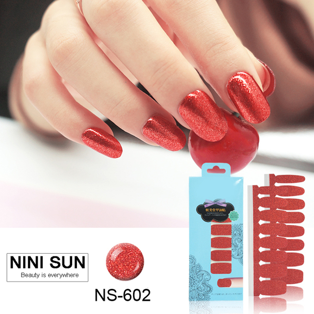 16pcs Real Nail Polish Strips Shining Red Art Stick Self Adhesive Gel Patch