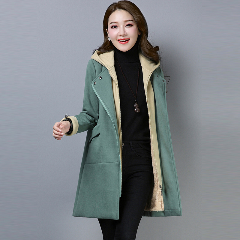 Fashion Faux Two Pieces Cotton Jackets Women Long Hooded Thicken Warm Cotton   Parkas   Autumn Winter Female Casual Outwears FP1753