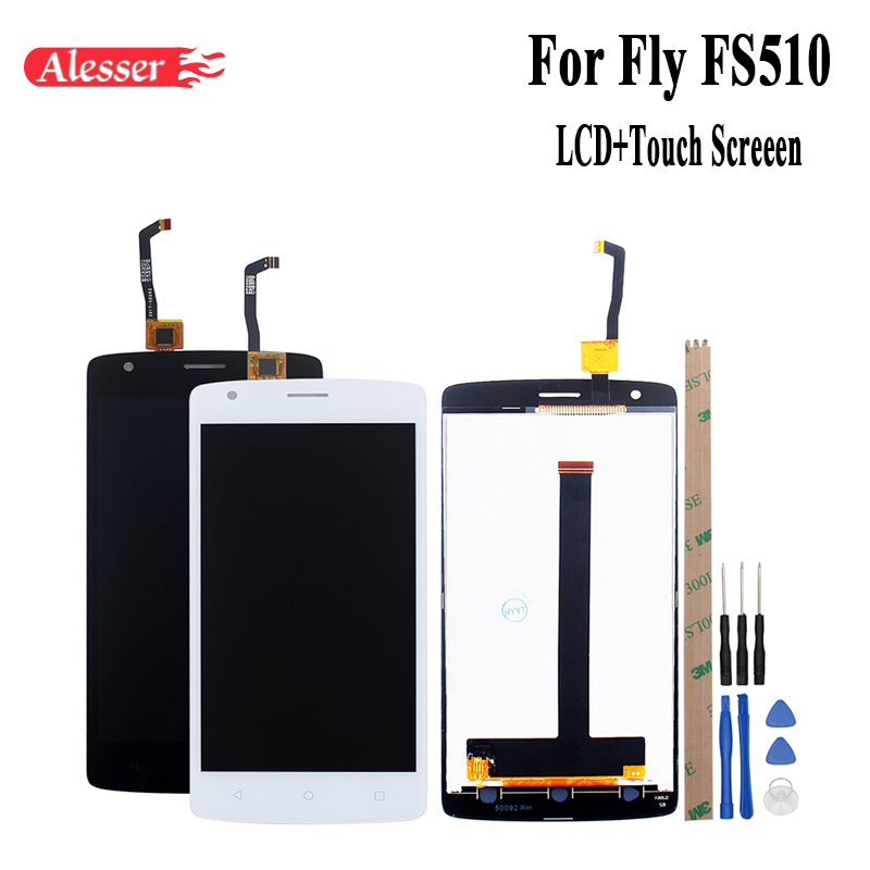 Alesser For Fly FS510 LCD Display and Touch Screen Assembly Repair Parts Phone Accessories+Tools For Fly FS 510 Nimbus 12