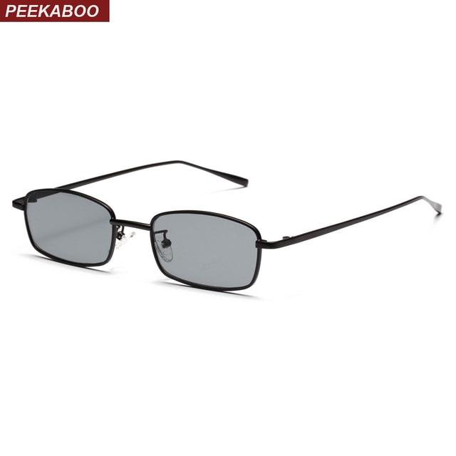 Peekaboo pequeno retângulo óculos de sol dos homens lente amarela vermelho  armação de metal quadrado preto 78bee081b4