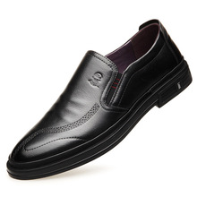 2019 Famous brand comfortable men's casual shoes Genuine Leather business casual round head soft bottom soft leather shoes men