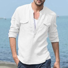 Men's Baggy Cotton Linen Pocket Solid Long Sleeve Retro T Shirts