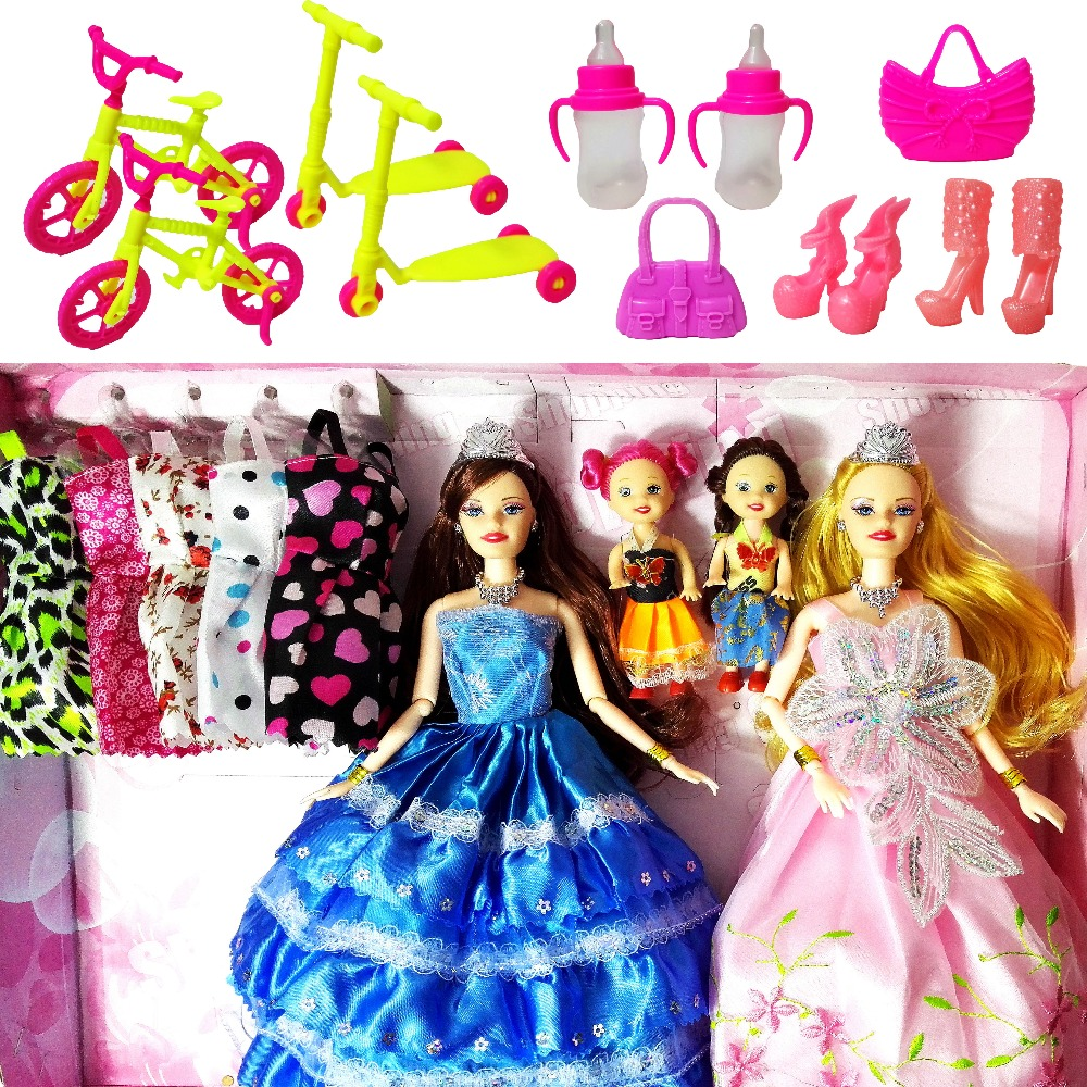 Fashion Doll Barbie Dolls Set 4 Dolls 10 Sets of Dress Clothes DIY Toy For Girls Doll Kids Princess Set Dress as Christmas Gift american girl doll clothes for 18 inch dolls beautiful toy dresses outfit set fashion dolls clothes doll accessories