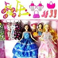 Mode Poupée Barbie Poupées Ensemble 4 Poupées 10 Ensembles de Robe Vêtements BRICOLAGE Jouet Pour Les Filles Poupée Enfants Princesse Ensemble Robe comme Cadeau De Noël