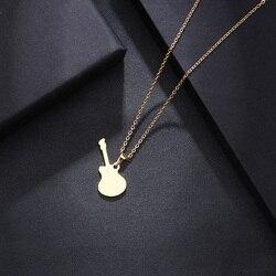 Ожерелье DOTIFI из нержавеющей стали для женщин и мужчин, ожерелье с подвеской в виде гитары для влюбленных, золотистого и серебристого цвета, ...