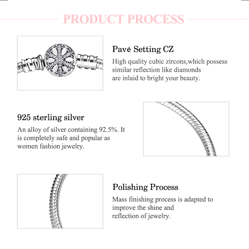 Image 5 - 925 Sterling Silver Snowflake charms Bracelet Engrave Dazzling  Clear CZ Round Clasp Rope Chain for Women DIY JewelryCharm Bracelets
