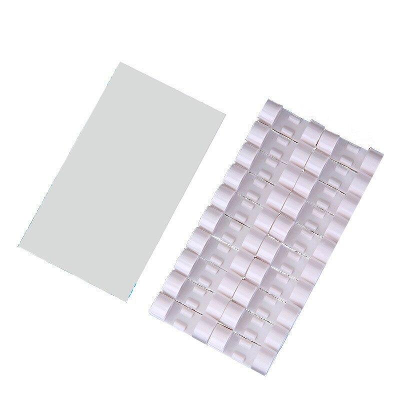 20 шт Пластиковые зажимы для кабеля 3 цвета для настольной организации офиса дома хранения пряжки кабельный зажим провода зажим самоклеющиеся мини - Цвет: white
