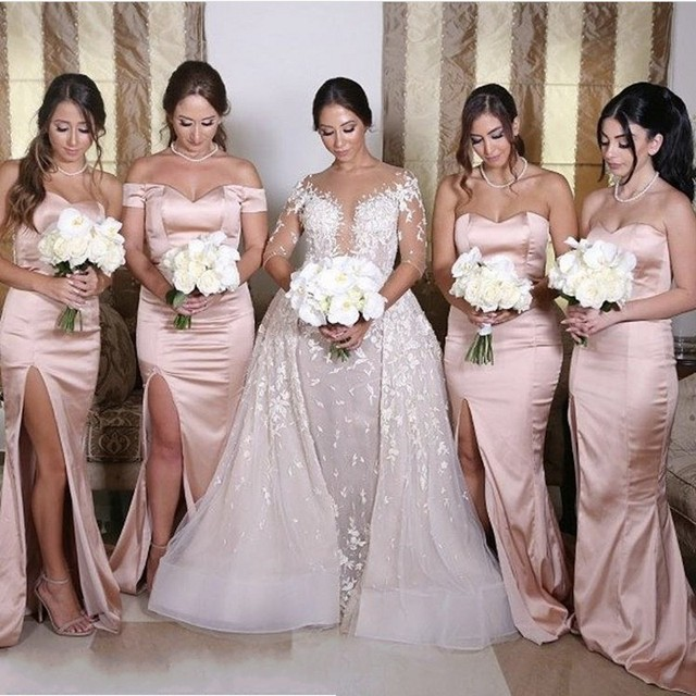 Peach And Silver Bridesmaid Dresses