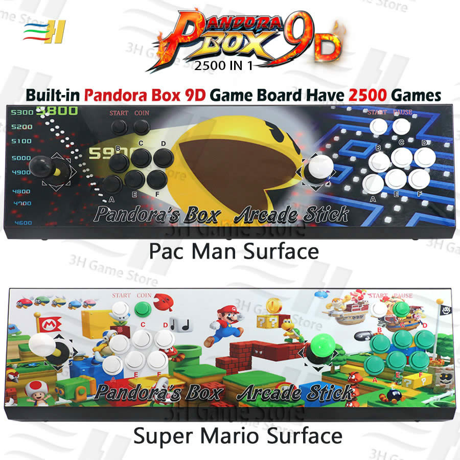 Construit dans la boîte de Pandora 9d 2500 dans 1 support de console de jeu d'arcade 3P 4P jeu usb peut connecter le jeu Plug and play de gamepad jeu 3d de soutien