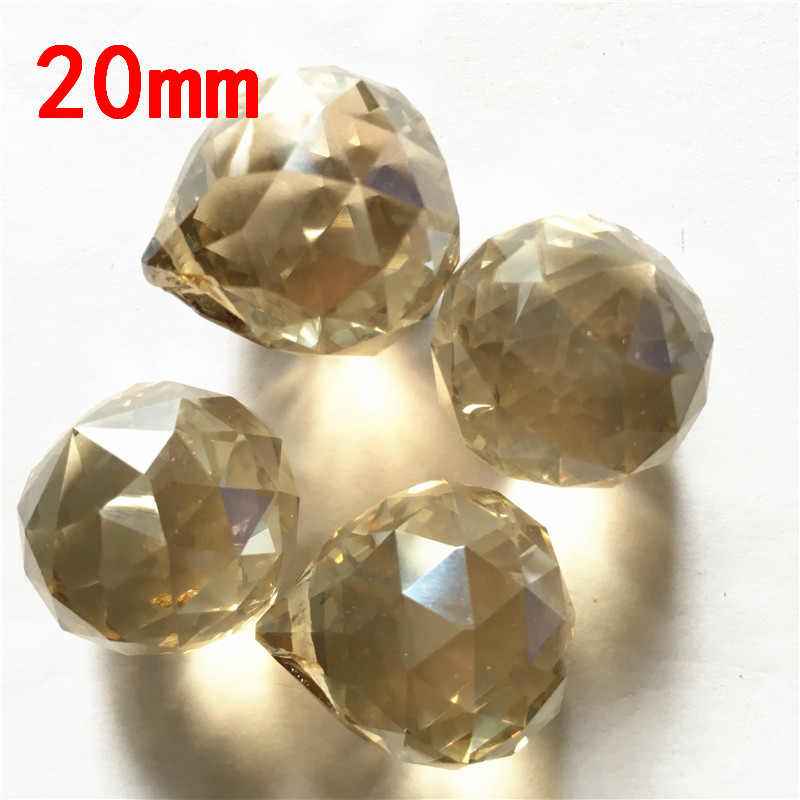 65pcs,Top Quality 20mm Crystal Hanging Faceted Ball, Crystal Chandelier Pendants, Crystal Lighting Parts Cognac Color