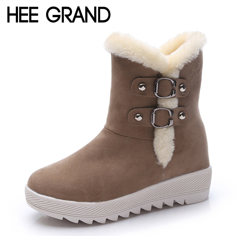 HEE GRAND Warm Women Snow Boots 2016 Platform Ankle Boots Winter Flock Shoes Woman Slip On Creepers Women Flats Shoes XWX4993