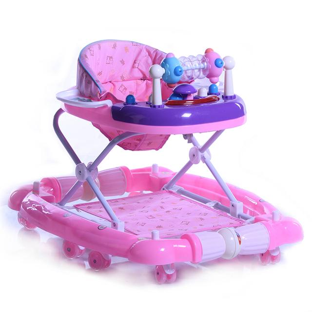 Venta caliente Bebé Walker 7-18 Meses Bebé Scooter de Prevención de Vuelco Multifuncional Niños U Tipo Plegable Con Música