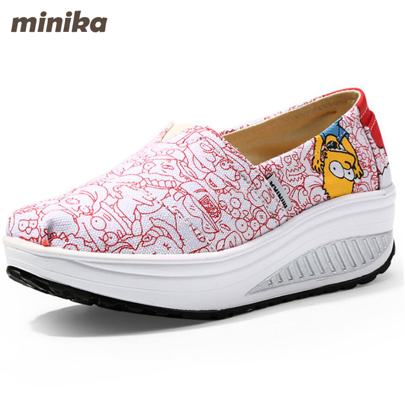 Minika Summer Canvas Women Shoes Casual Woman Flats Platform Fashion Breathable Women Shoes Platform Plus Size 35-40 2e44 de la chance 2018 new fashion women casual shoes adults colorful women s flats shoes woman breathable harajuku flat plus size