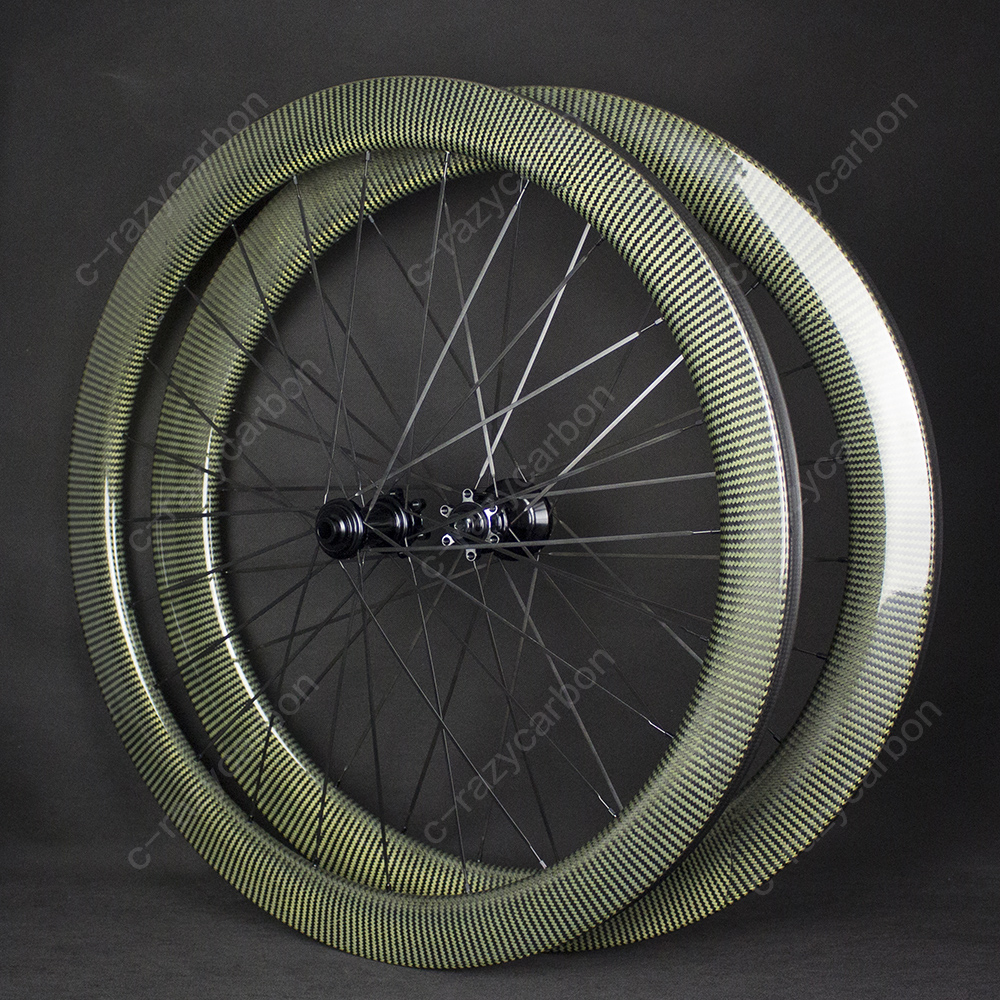 Road Kevlar Carbon Wheels With 6 Bolts Disc Brake 38 50 60mm Tubular Clincher with Hubs