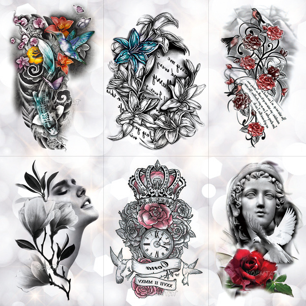 Love Crown Rose Blue Lily Flower Waterproof Temporary Tattoo Sticker Pigeon Angel Flash Arm Tattoos Body Art Fake Tatoo