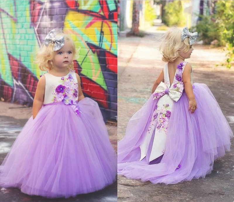 Cute   Flower     Girl     Dresses   For Wedding 3D with Floral Applique Pearls Big Bow   Girls   Birthday Party Gowns Custom Made V-back Longo