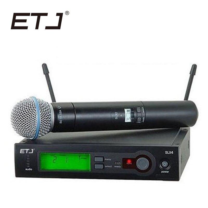 Top Qualité SLX SLX24 BETA58/SM58 UHF Professionnel Microphone Sans Fil Système Super Cardioïde BÊTA De Poche Microfone Mic