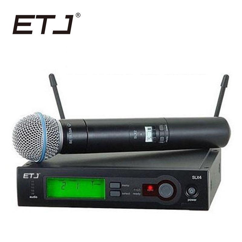 Top Quality SLX SLX24 BETA58/SM58 BETA Handheld Sistema de Microfone UHF Sem Fio Profissional Super-cardióide Microfone Mic