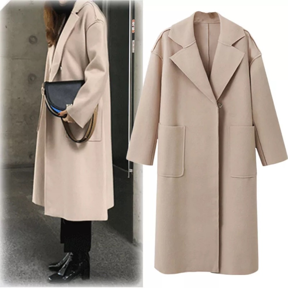 Women's new fashion autumn and winter pure colour coats and   trenches   with long sleeves