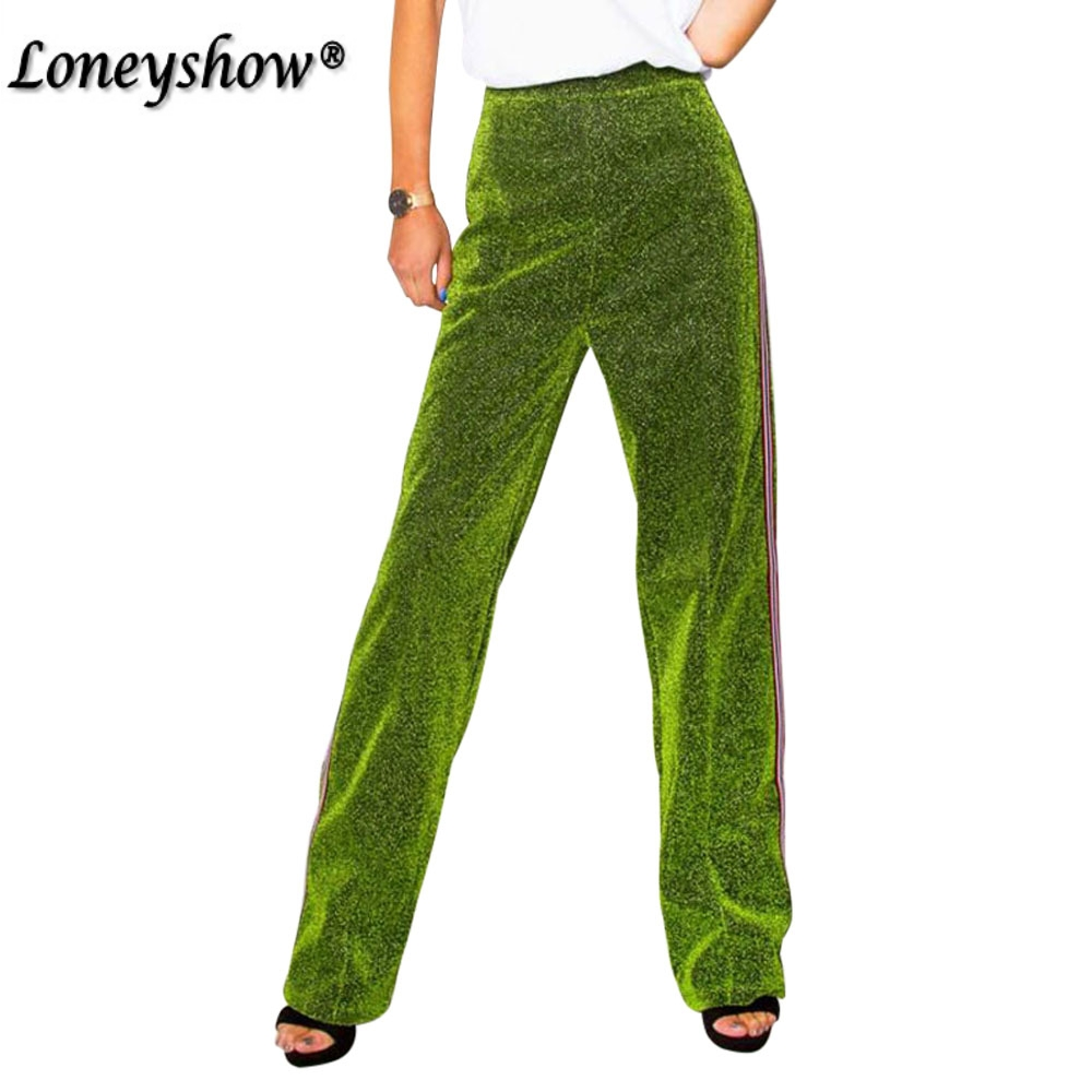 Women   Wide     Leg     Pants   Sequin Casual Baggy Female Trousers Pantalon Femme Green Red Jogger Mujer Spring Summer 2 Color
