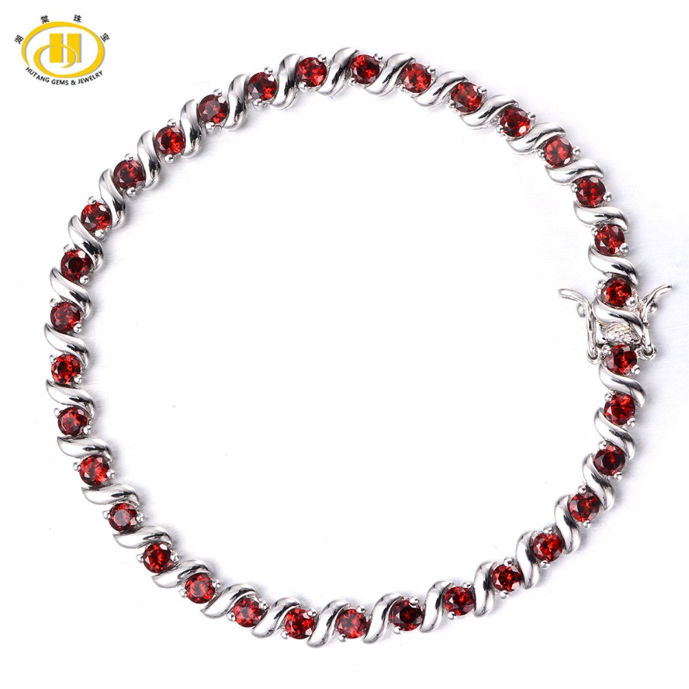 Hutang Genuine Red Garnet Diamond-Jewelry 925 Sterling Silver S Link Bracelet for Women Gemstone Fine Jewelry Monther's Day Gift fashion 925 sterling silver 5mm red garnet bracelet women gift thai silver jewelry several string long bracelet ch041954