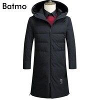 Batmo 2017 nieuwe collectie winter hoge kwaliteit warm houden grijs eendendons hooded lange jaket mannen, winterjas mannen, 87636