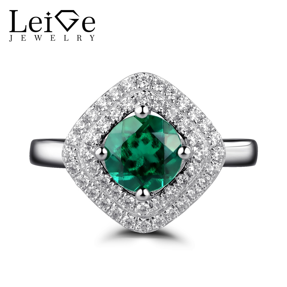 Leige Jewelry Double Halo Emerald Rings for Women 925 Sterling Silver Green Gemstone Wedding Engagement Ring Fine JewelryLeige Jewelry Double Halo Emerald Rings for Women 925 Sterling Silver Green Gemstone Wedding Engagement Ring Fine Jewelry
