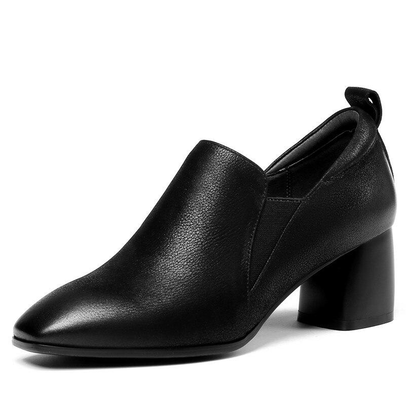 Fedonas 새로운 디자인 신발 여자 진짜 가죽 광장 발가락 슬립 신발에 우아한 높은 뒤꿈치 펌프 고품질 사무실 펌프-에서여성용 펌프부터 신발 의  그룹 2