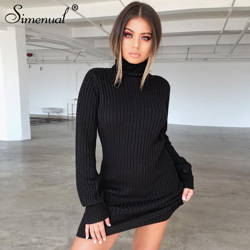 Simenual Autumn winter sweater dress female knitwear casual slim long sleeve turtlenecks dresses for women solid sexy vestidos